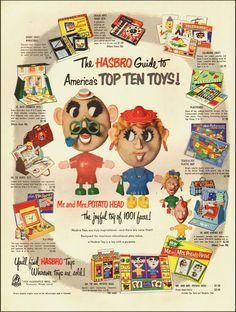 1954 vintage AD,  HASBRO TOYS,  Mr. and Mrs.Potato Head Dr. and Nurse Kit-091713