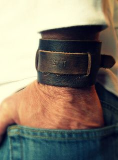 Gifts for Teen Guys:  Men's Monogrammed Leather Bracelet by Vintage Stamp Jewels @ Etsy