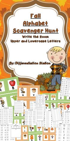 """Fall Alphabet Scavenger Hunt  Upper and Lowercase Letters  Beginning """"Write the Room""""  This is a fall themed game or center. It has pumpkins, leaves, acorns, squash, scarecrows, as well as, adorable children that your students will love! Students will find upper and/or lower case letters."""