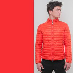 a trendy down jacket poppy color for man fashion and sportswear by Bomboogie