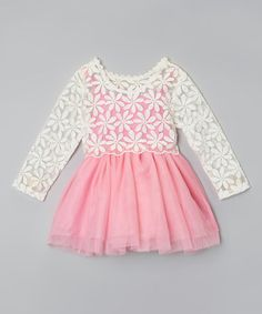 Love this Pink & White Claire Lace Dress - Infant, Toddler & Girls by Sweet Cheeks on #zulily! #zulilyfinds