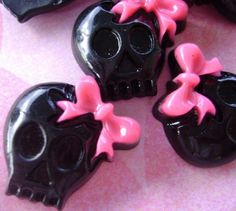 Resin flatback  Black skull with pink bow embellishment | Artsy_Effects - Craft Supplies on ArtFire