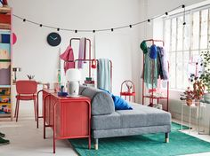 A personalised and colourful sublet apartment - IKEA Inspiration Ikea, Bedroom Furniture, Bedroom Decor, Grey Sofa Bed, Foldable Table, Ikea Home, One Bedroom, Bedroom Apartment, Girl Rooms