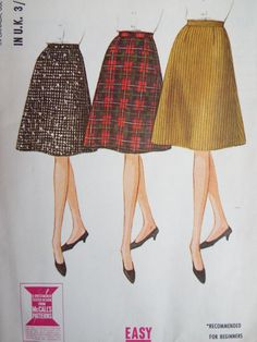 Vintage 1960s McCalls Easy To Make A Line Cone Skirt W 24