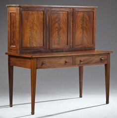 American Carved Mahogany Plantation Desk 19th C The Rectangular Top Over Three Cupboard