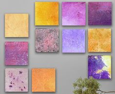 Over sized Abstract painting, 11 square CUSTOM Abstract Wall Art, Large abstract painting, Purple, yellow, Eggplant, Gold, plum, Lavender,