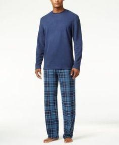 Club Room Men's Blue McAbee Fleece Pajama Set, Only at Macy's  - Blue XL
