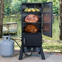 "Start a new tradition this holiday season when you cook your holiday dinner in a smoker. Smoked turkeys and other foods come out juicy, tender and delicious. Click through for the recipe for ""Dadgum Good"" Smoked Turkey. Masterbuilt Propane Smoker, Gas Smoker, Propane Smokers, Meat Smokers, Barbecue Smoker, Bbq Grill, Smoker Cooking, Cooking Pork, Cooking Turkey"