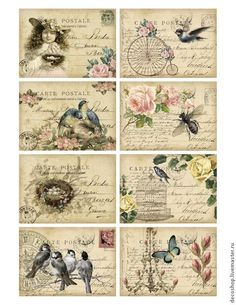 """Decoupage and painted by hand. Fair Masters - handmade 193 """"soft"""" rice paper for decoupage. Decoupage Vintage, Vintage Diy, Floral Vintage, Images Vintage, Shabby Vintage, Vintage Labels, Vintage Ephemera, Vintage Pictures, Vintage Cards"""