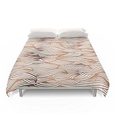 "Society6 Rose Gold Waves Duvet Covers Queen: 88"" x 88"""