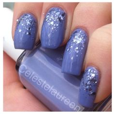 GLITTER GRADIENT :: Looks like Essie Boxer Shorts & something like OPI Crown Me Already (a silver glitter that looks exactly like this one, although I can't tell if the glitter is actually periwinkle, too or if it's just reflecting off the nail color! | #glittergradient