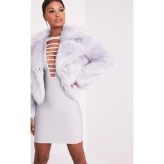 Sophiah Ice Grey Premium Faux Fur Jacket - 6 ($73) ❤ liked on Polyvore featuring outerwear, jackets, ice grey, gray faux fur jacket, grey jacket, fake fur jacket, faux fur jacket and grey faux fur jacket