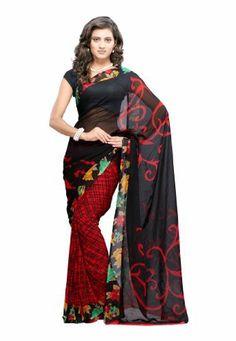 Fabdeal Women Indian Designer Wear Printed Saree Black & Red Fabdeal, http://www.amazon.de/dp/B00GAQ859G/ref=cm_sw_r_pi_dp_P.9otb12MHXFK