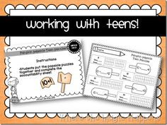 Math station to practice or review the concept that teens are made out of a ten and some ones. Cover CCS 1.NBT.B.2.B