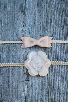 Felt Mini Bow and Flower Headband Gift Set - Baby Girl Headbands - Newborn Headbands on Etsy, $14.00