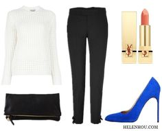 Want to wear a white sweater to a party? Use other pieces to balance the casualness of the pullover. Like this ankle bow pants, eye-catching pumps andstructured clutch.