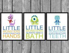 Monsters Inc Bathroom Set Childrenu0027s Artwork Kids Room Decor Wall Art Wash Your Hands