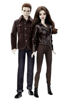 "A gift for the Twihard in your family? There are 15 dolls in the various ""Twilight"" Barbie collections, including a shirtless Jacob. This set comes out in a few days--note the creepy vampire-esque greige skintone on Bella and Edward."