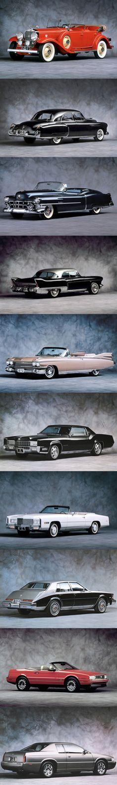 Cadillac 1930 V-16 / 1949 60 Special / 1953 Eldorado / 1957 Eldorado Brougham / 1959 Eldorado Biarritz / 1967 Eldorado / 1971 Eldorado / 1980 Seville / 1987 Allanté / 1992 Eldorado / Harley Earl Pininfarina Bill Mitchell / USA
