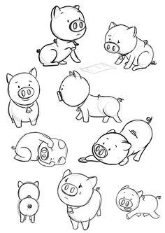 Boceto oink Personaje de cerdito en diferentes poses