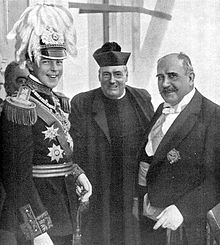King Manuel II of Portugal with the Civil Governor of Porto on the King's first national trip in 1908, months after the murder of his father the King Carlos I and his brother, the Prince Royal Luiz Filipe