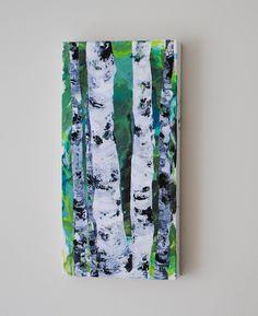 Original Birch Tree Painting, Modern Interior >> Artist S.Rueter  #birchtreeart #birchtreepainting #forestpainting #abstractart #modernlandscape #modernhome #birchtreelandscape