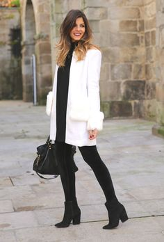 White Faux Fur Accent Coat by TrendyTaste Trendy Taste, I Love Fashion, Womens Fashion, Autumn Winter Fashion, Winter Style, Casual Outfits, White Outfits, Casual Clothes, Everyday Outfits