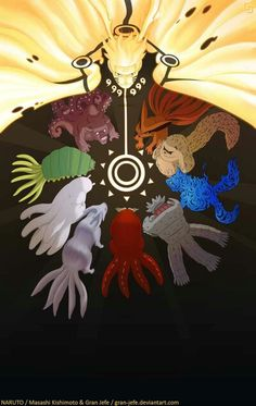 Tailed beasts // You know, I look at this picture of Naruto and The Tailed Beasts and really wonder if Kurama ever felt proud that his jinchuuriki was the child of the prophesy...but for some reason, I just know he was!