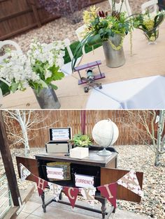 transportation + travel themed baby shower inspiration on COUTUREcolorado Baby | by Jamie Smith Photography and Sarah Viera Event Planning and Design | vintage globe, bi-plane table runner, galvanized tin bucket floral succulent centerpiece, card holder check-in table, pennant flags | baby shower or children's birthday party ideas