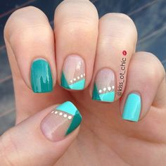 Two color variation on, or updated version of French Manicure tips, polka dots, color blocking, Teal Green, White Easy idea for free hand nail art