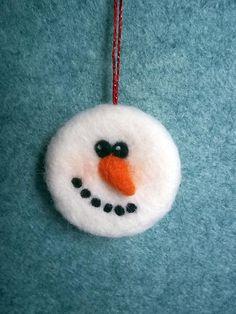 Needle Felt Christmas Tree Snowman Snowman by MerinoCreations