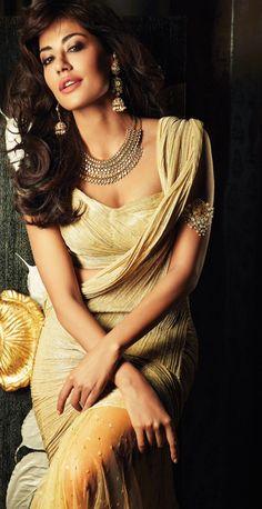 I love the jewelry - Chitrangada Singh in gold #saree