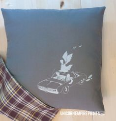 Supernatural Inspired - Impala Pillow Cover - Hand Printed and Sewn by Unicorn Empire Prints. This is quite easily the best looking pillow I have ever seen in my life.