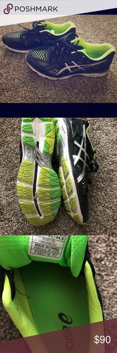 Men s ASICS Gel-Kayano Running Shoes Men s black and green ASICS tennis  shoes. They 88b586a442feb