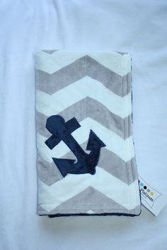 Nautical Anchor Double Sided Chevron Minky Blanket by BornPlatinum Anchor Nursery, Ocean Nursery, Nautical Nursery, Nautical Anchor, Nautical Baby, Nautical Theme, Baby Sewing Projects, Sewing Crafts, Best Baby Gifts