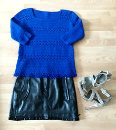 Handmade Blue Crochet Knitted Woman Autumn Winter Cashmere
