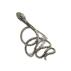 Sterling Silver Marcasite Snake Ring