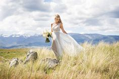 Photo Fave! Gorgeous bride + a spectacular Montana mountain backdrop captured by laurenbrownphoto.com