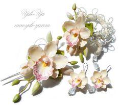 flower jewelry, craft, polym orchid, clay flowers, flore de, polym clay, polymer clay, jewelri, комплект веста