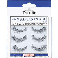 bc506d68d7c Eylure Lengthening Eyelashes Multi-pack 155 Natural Texture, Light Texture,  False Eyelashes,