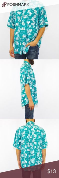 Vintage 90's Pineapple Button Up Shirt DESCRIPTION Hawaiian pineapple print rayon button up shirt - tagged as a size 'large.' Shirt has a loose fit and looks cool oversized on a person of a smaller size as well. Garment is in great condition!  DETAILS Brand: Montage Size: Large Material: 100% Rayon  MEASUREMENTS Shoulders: 22 inches / 55.75 cm Chest: 24 inches / 61 cm Sleeve: 10 inches / 25.4 cm Length: 28 inches / 71 cm Shirts Casual Button Down Shirts