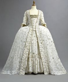A fine and rare embroidered court gown, 1770's.