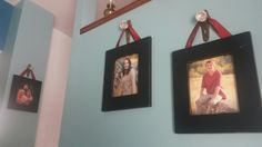 Instead of a curtain rod I used antique glass door knobs to hang pictures