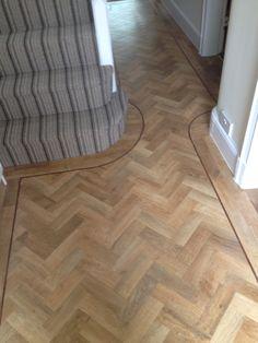 Telenzo Bakerloo Stripe Carpet with Karndean Parquet Kardean Flooring, Parkay Flooring, Living Room Flooring, Kitchen Flooring, Striped Carpet Stairs, Striped Carpets, Carpet Staircase, Hallway Carpet, Vinyl Wood Planks