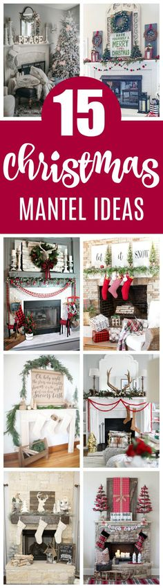 15 Totally Pin-Worthy Holiday Fireplace Mantel Ideas on Pretty My Party #christmasmantelideas #holidaymantelideas