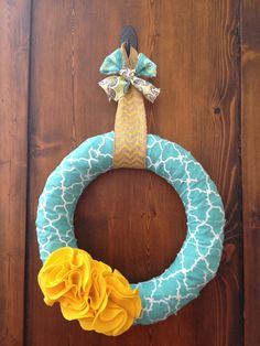 Spring Blue and Yellow Ruffle Wreath 48 hr by PolkadotsOriginals, $26.00
