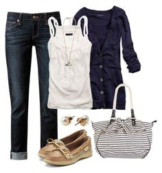 """Nautical"" by ohsnapitsalycia ❤ liked on Polyvore featuring Paige Denim, American Eagle Outfitters, Sperry Top-Sider, American Apparel and Forever 21"