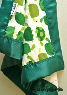 Baby Blanket - Minky Baby Blanket - Turtles in Green - Satin Trim - Straight or Ruffled - Personalization Available - Several Sizes
