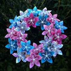 Jack and Jill Origami/Kusudama Paper Flower Wreath //