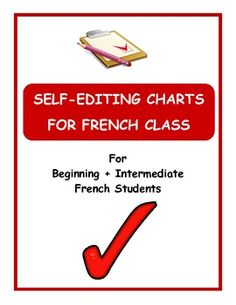Help your French students become lifelong learners by teaching them how to edit their own work. I like this idea, but will probably make my own version. Education And Literacy, French Education, French Teacher, Teaching French, French Classroom Decor, High School French, Core French, French Phrases, Writing Strategies